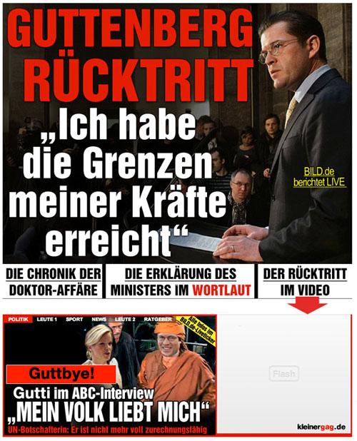 Guttenberg-Rücktritt, die aktuelle BILD-Titelseite